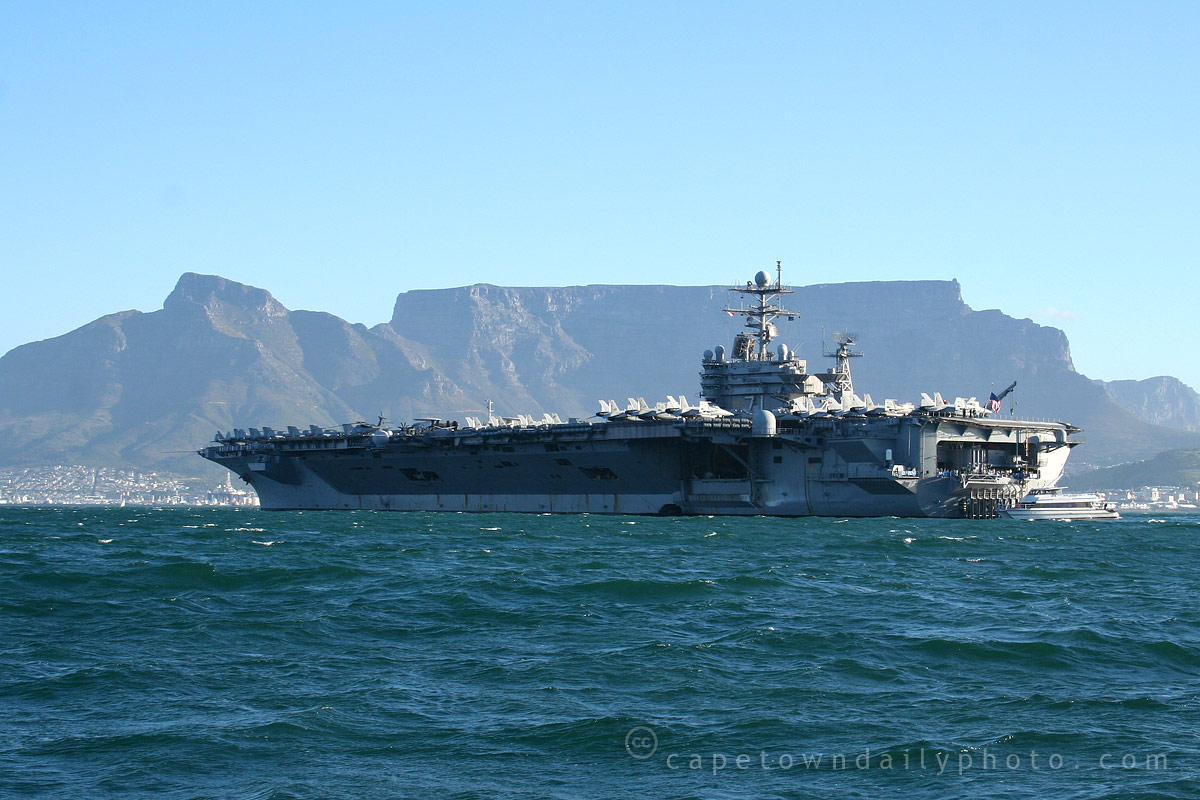 The aircraft carrier has left Table Bay