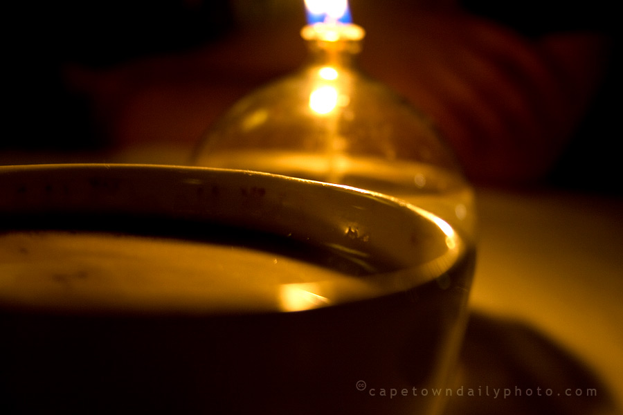 Coffee cups and candle light