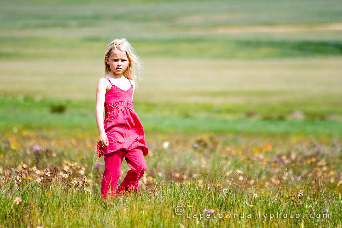 Girl in a field of colour