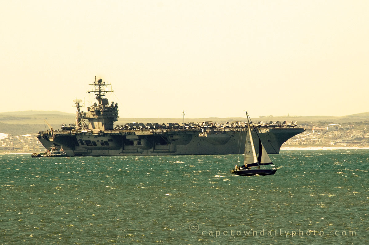 American aircraft carrier in Cape Town