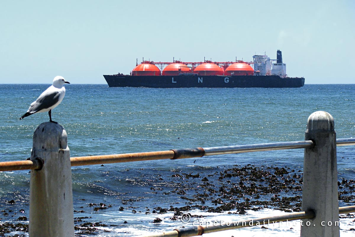 Liquefied Natural Gas ship anchored near Sea Point