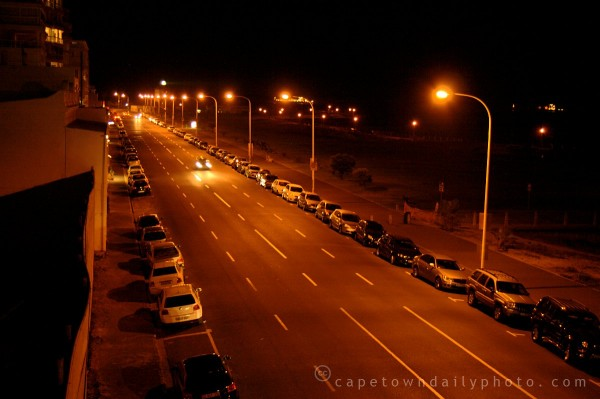 Beach Road in Mouille Point at night