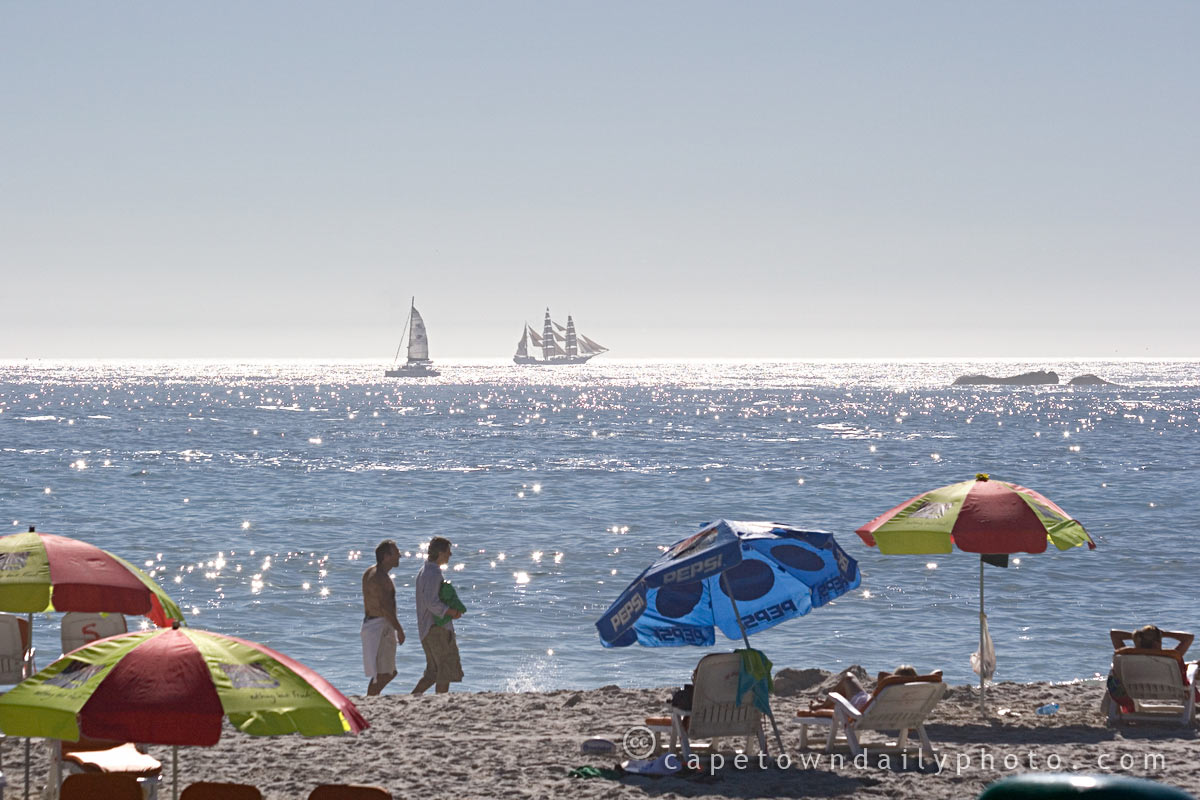Beach weather and sailing ships
