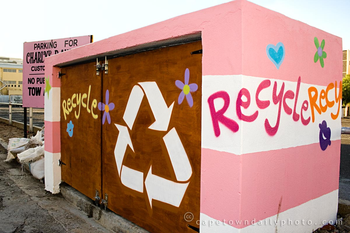 Recycling station at Charlys Bakery