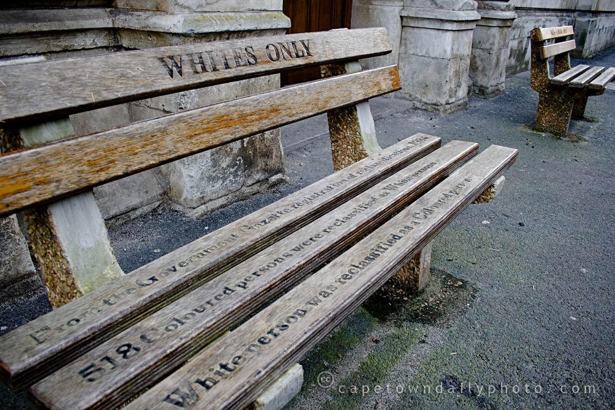 Apartheid benches outside the High Court