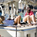 Girls tanning on the Argo yacht