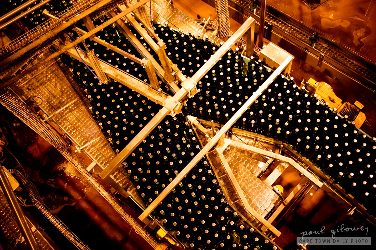 Bottles on a conveyor