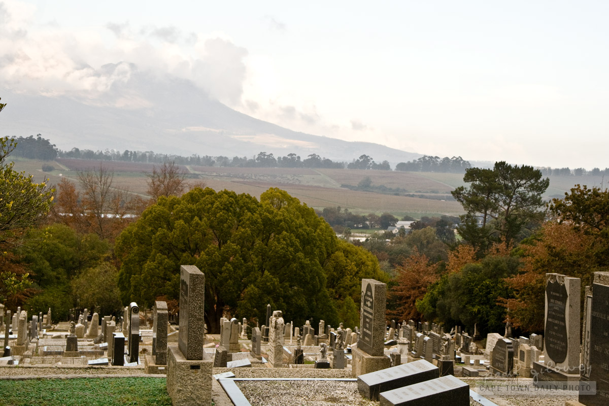 A beautiful view from Stellenbosch Cemetery