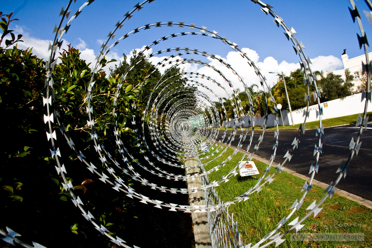 Circles of barbed wire