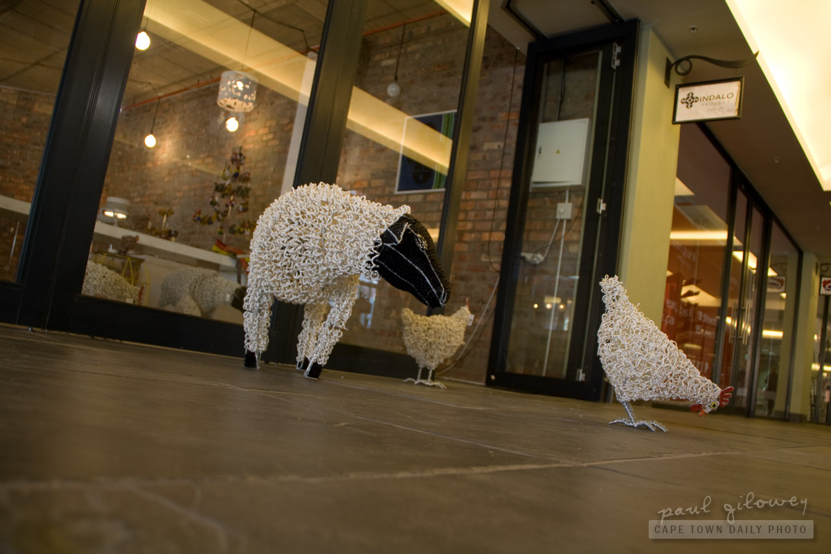 Beaded sheep, beaded chicken