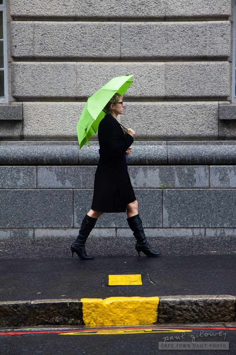 Woman with the green umbrella