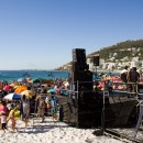 Moonstruck's make-shift stage on Clifton 4th beach