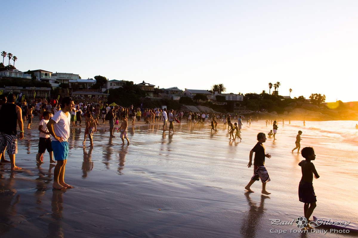 People on the beach at sunset | Cape Town Daily Photo