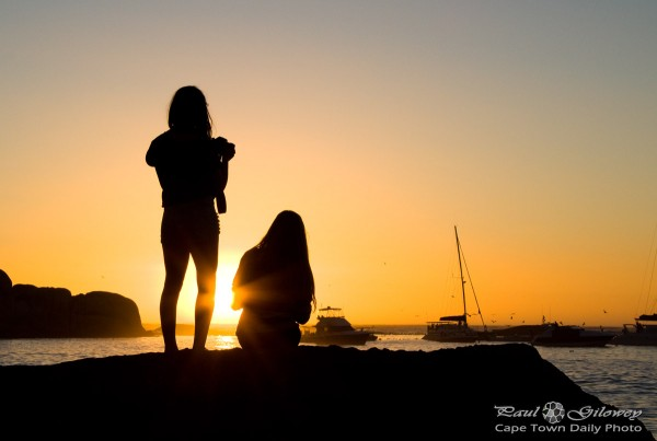 Two girls silhouetted