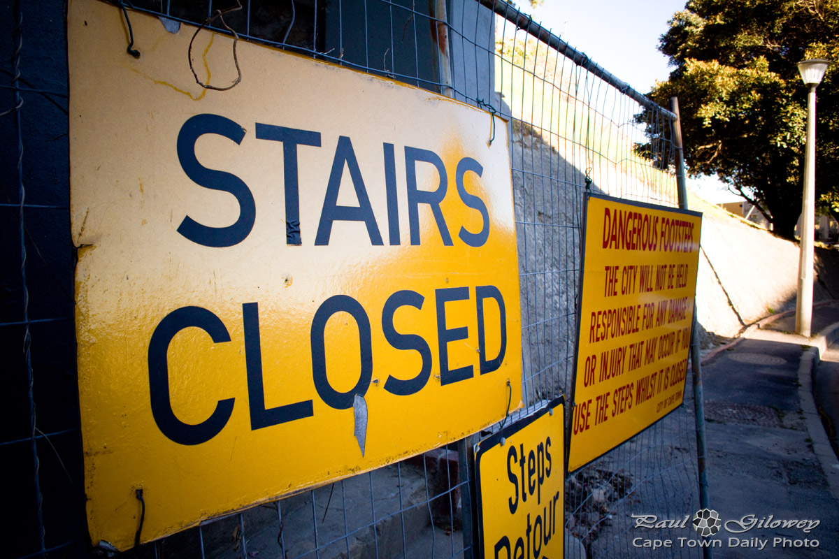 The stairs are closed - you can't sue us!