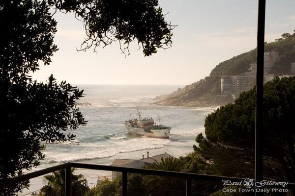 A ship stranded on Clifton beach