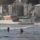 Ship stranded on Clifton beach