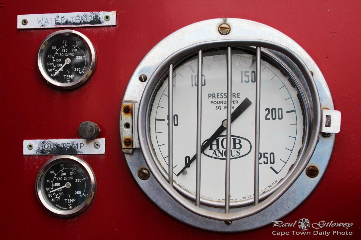 Fire truck water pump gauges
