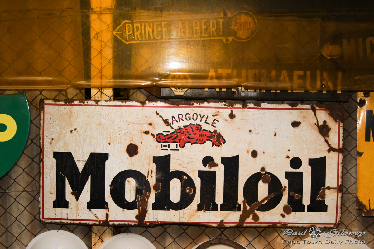 An old Mobiloil sign