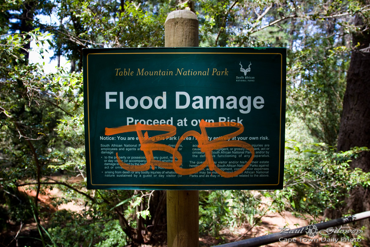 Flood damage in Newlands Forest