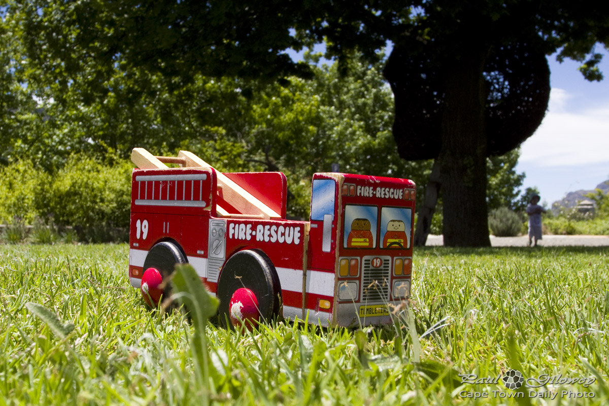 Fire engines and green grass