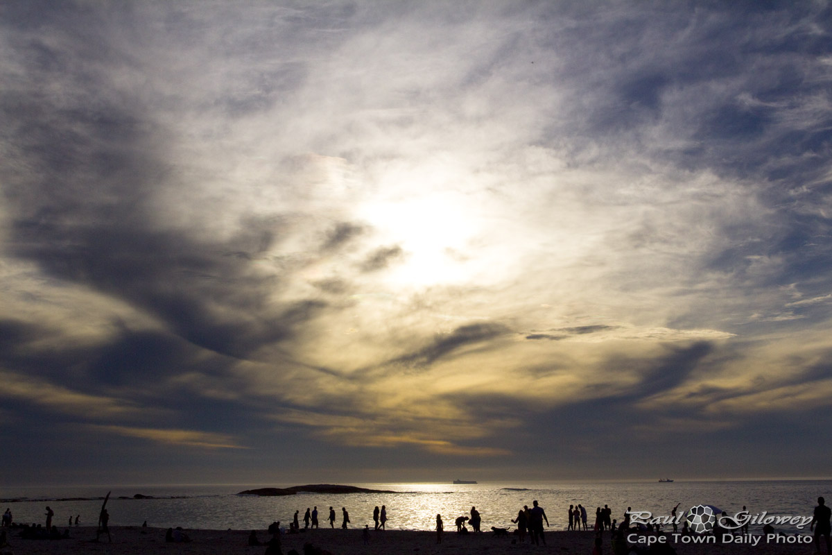 Camps Bay beach silhouettes