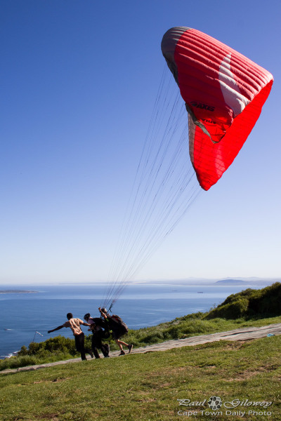 Paraglider launching from Signal Hill