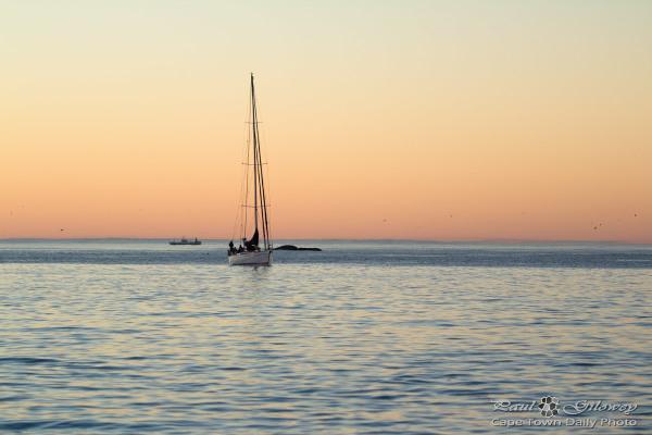 Sunset yacht off Clifton beach