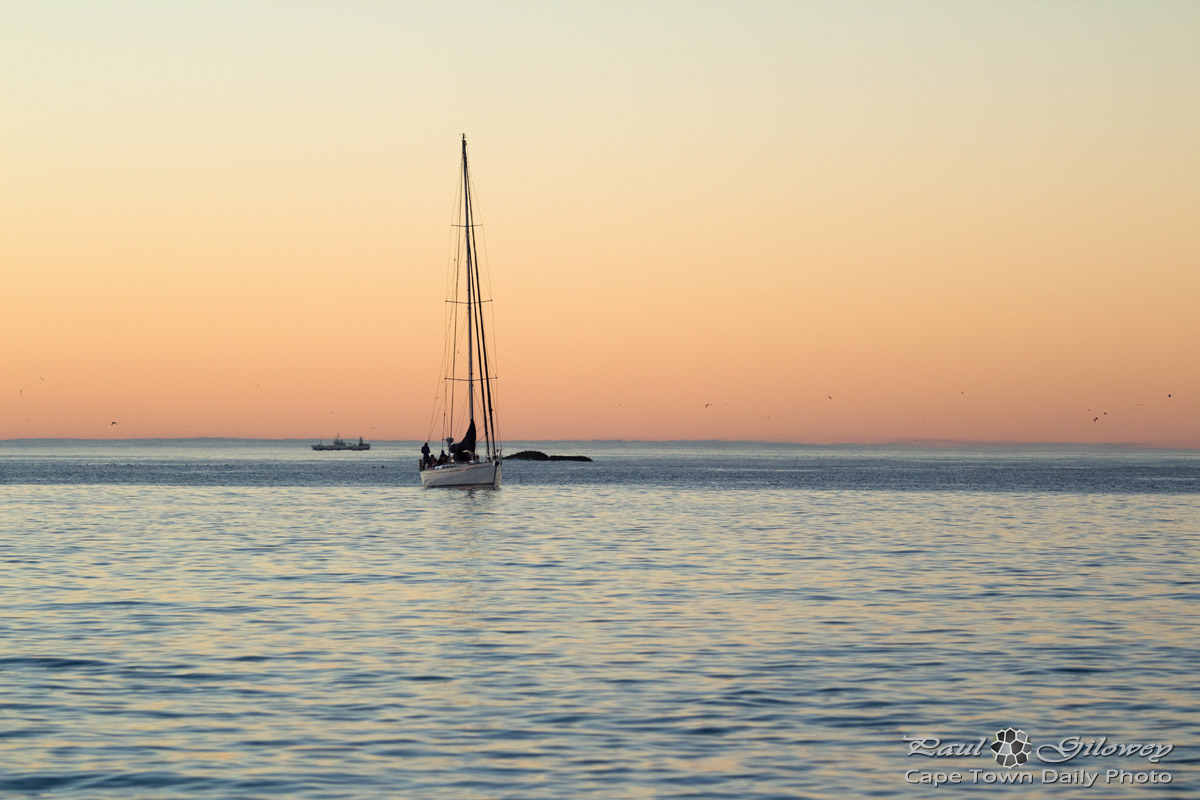Sunset yacht off Clifton beach